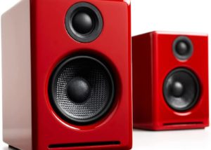 One of the Best Budget Speakers for Turntable in red color